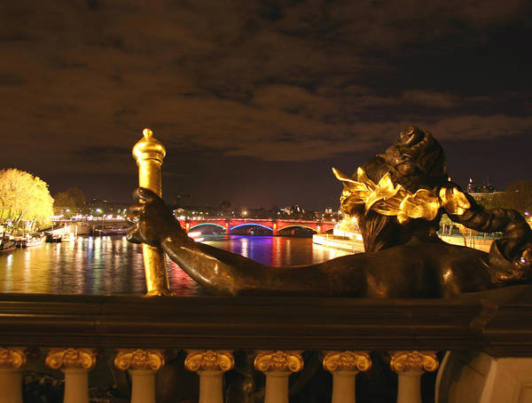 Pont Alexandre Iii Poster featuring the photograph Seine By Night by Hans Jankowski