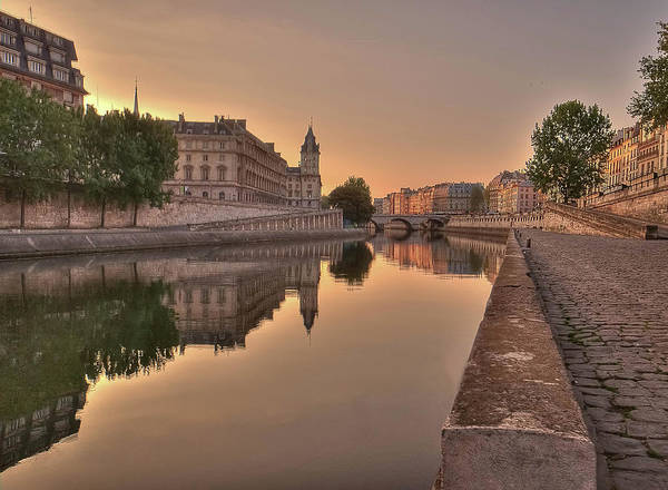 Horizontal Poster featuring the photograph Seine River In Morning, Paris by Stéphanie Benjamin