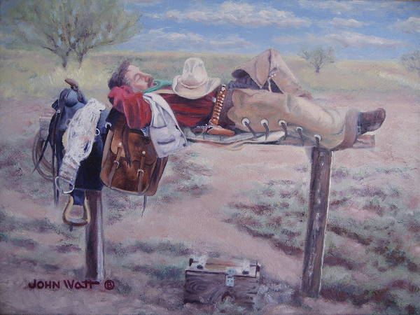 Empire Ranch Cowboy Poster featuring the painting Select Comfort by John Watt