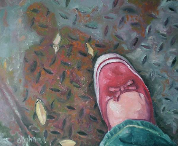 Poster featuring the painting Selfportrait Red Shoe by Aleksandra Buha