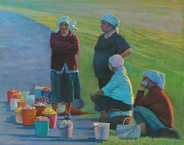 People Poster featuring the painting Sellers Of Apples by Alexander Chernitsky