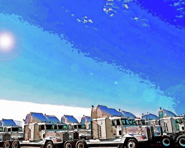 Trucks Poster featuring the photograph Semi Truckscape 1 by Steve Ohlsen