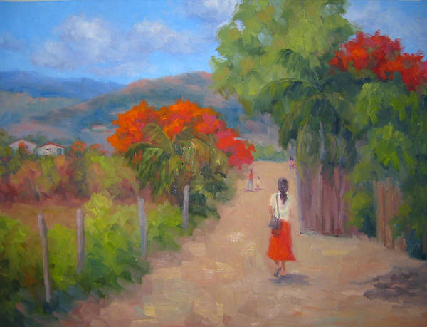 Honduras Poster featuring the painting Senorita In A Red Skirt by Bunny Oliver
