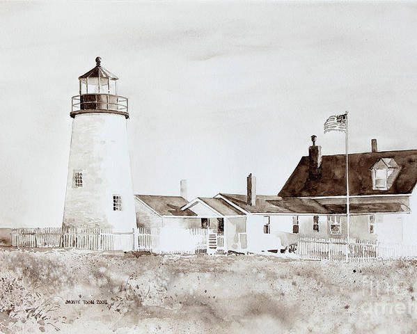 The Pemaquid Point Lighthouse On Mid-coast Maine.   Poster featuring the painting Sepia Afternoon by Monte Toon