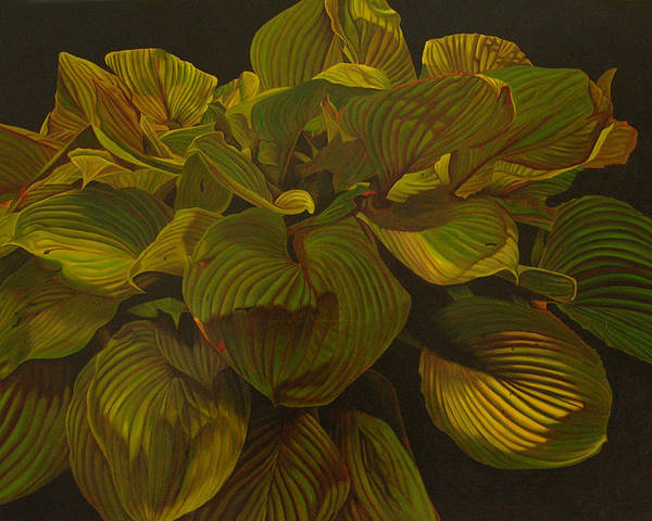 Plant Poster featuring the painting September Night by Thu Nguyen