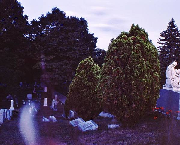 Cemetary Poster featuring the photograph Serene Visitation by Don Youngclaus