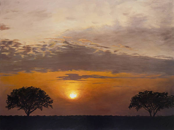 Africa Poster featuring the painting Serengeti Sunset by Elizabeth Rieke Hefley