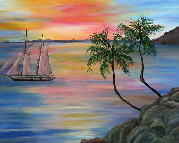 Sunset Poster featuring the painting Serenity Bay by Mikki Alhart