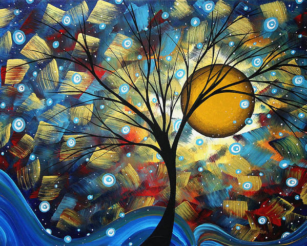 Abstract Poster featuring the painting Serenity Falls By Madart by Megan Duncanson