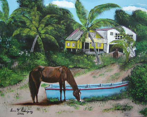 Aguadilla Poster featuring the painting Serenity by Luis F Rodriguez