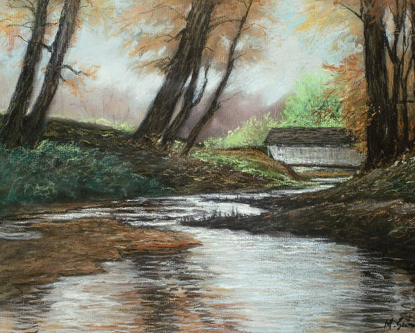 Nature Poster featuring the pastel Serenity by Michael Scherer