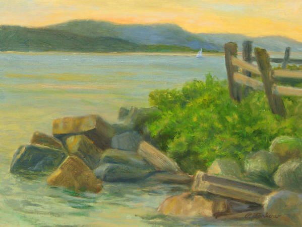 Landscape Poster featuring the painting Serenity On The Hudson by Phyllis Tarlow