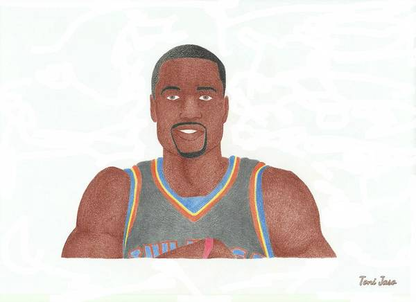 Basketball Poster featuring the drawing Serge Ibaka by Toni Jaso
