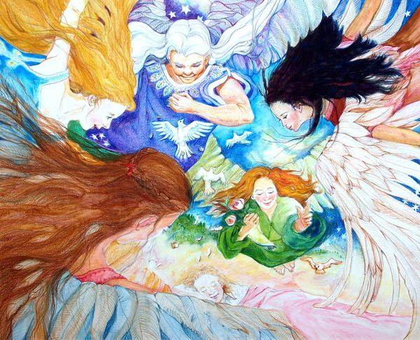 Angels Poster featuring the drawing Set Your Mind On Things Above by Jill Iversen