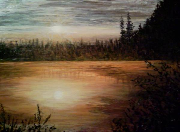 Landscape Seascape Water Trees Calm Sunset Settle Poster featuring the painting Settling Down by Sally Van Driest