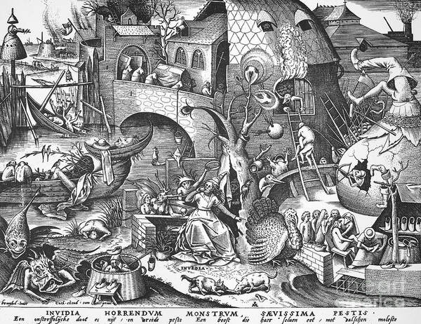 1558 Poster featuring the photograph Seven Deadly Sins, 1558 by Granger