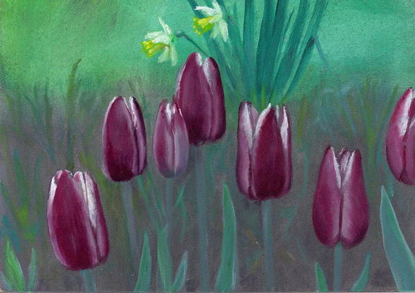 Tulips Poster featuring the painting Seven Tulips by Laurel Ellis