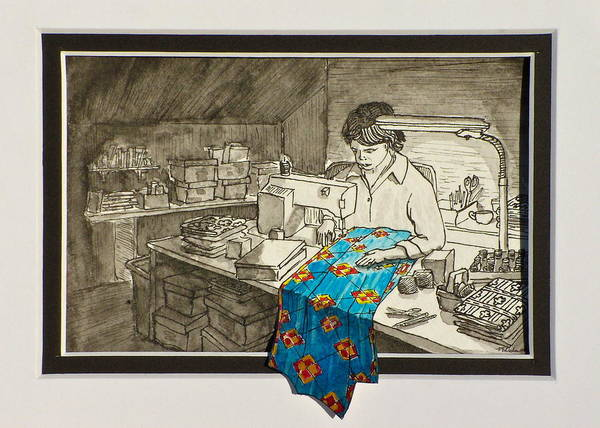 Quilting Poster featuring the painting Sewing Overflowing by Vic Delnore