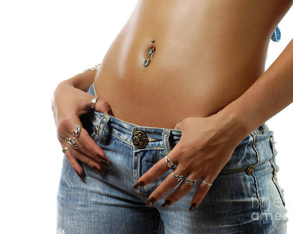 Stomach Poster featuring the photograph Sexy Woman With Pierced Belly In Blue Jeans by Oleksiy Maksymenko