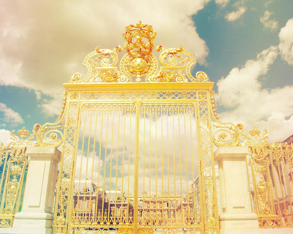 Angle Poster featuring the photograph Shabby Chic Gold Gate Versailles by Sandra Rugina
