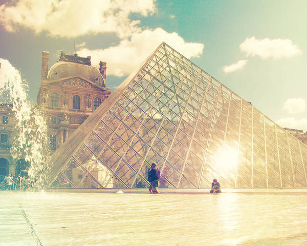 Architecture Poster featuring the photograph Shabby Chic Louvre Museum Paris by Sandra Rugina