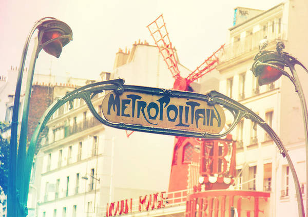 Angle Poster featuring the photograph Shabby Chic Moulin Rouge Metro Sign Paris by Sandra Rugina
