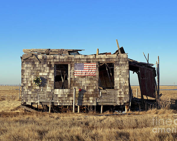 Abandoned Poster featuring the photograph Shack With American Flag by John Greim