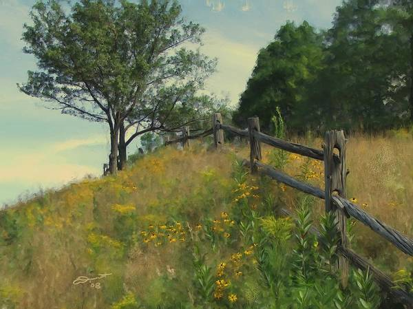Country Rural Fence Vermont Flower Summer Painting Rail Tree Hill Goldenrod Shade Wild Sargent Oil Poster featuring the painting Shade Tree by Eddie Durrett
