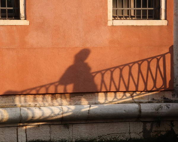 Venice Poster featuring the photograph Shadow Of A Person Crossing The Shadow Of A Bridge In Venice by Michael Henderson