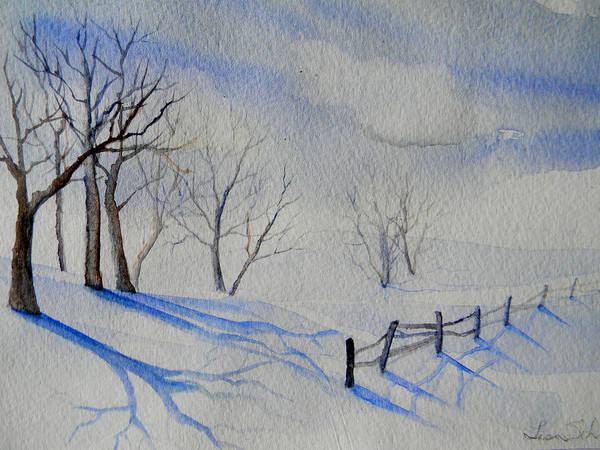 Snow Poster featuring the painting Shadows On The Snow by Lisa Schorr