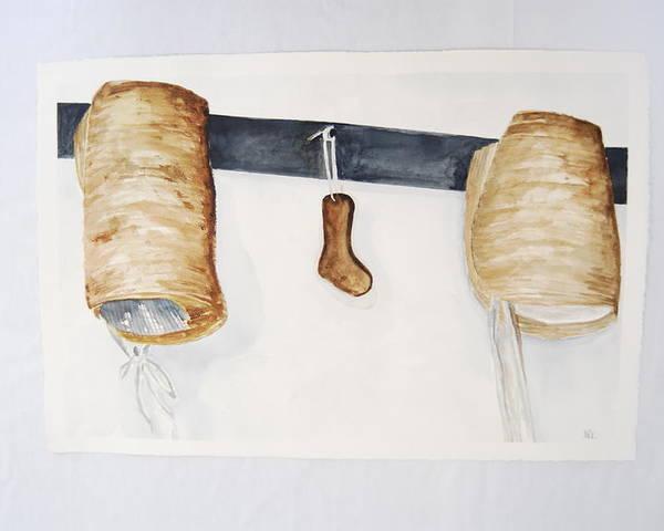 Shaker Women Bonnets And Sock Form Poster featuring the painting Shaker Women Bonnets And Sock Form by Marti Kuehn