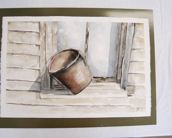 Landscape Of Shakertown Bucket In Winter Poster featuring the painting Shakertown Bucket by Marti Kuehn