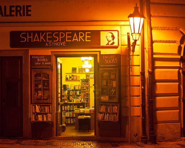 Prague Poster featuring the photograph Shakespeares' Bookstore-prague by John Galbo