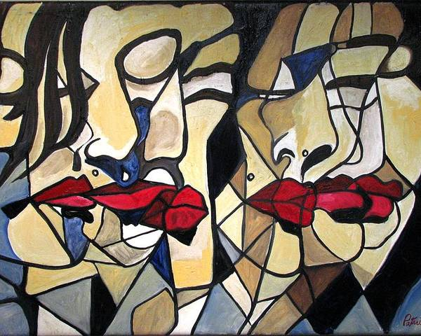 Abstract Poster featuring the painting She Had Red Lips by Patricia Arroyo