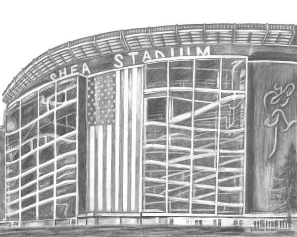 Shea Stadium Poster featuring the drawing Shea Stadium by Juliana Dube