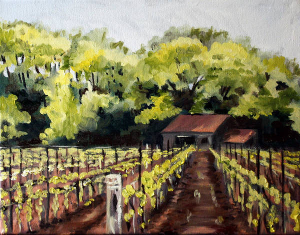 Vineyard Poster featuring the painting Shed In A Vineyard by Sarah Lynch