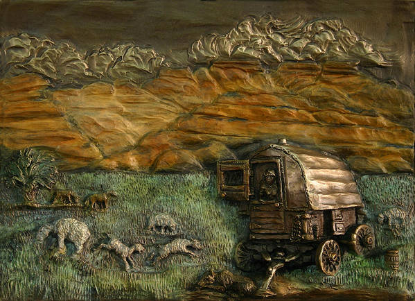 Miniature Poster featuring the relief Sheep Herder's Wagon From Snowy Range Life by Dawn Senior-Trask