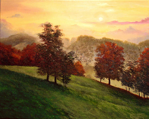 A Painting A Day Poster featuring the painting Shenandoah Valley Sunrise by Connie Tom
