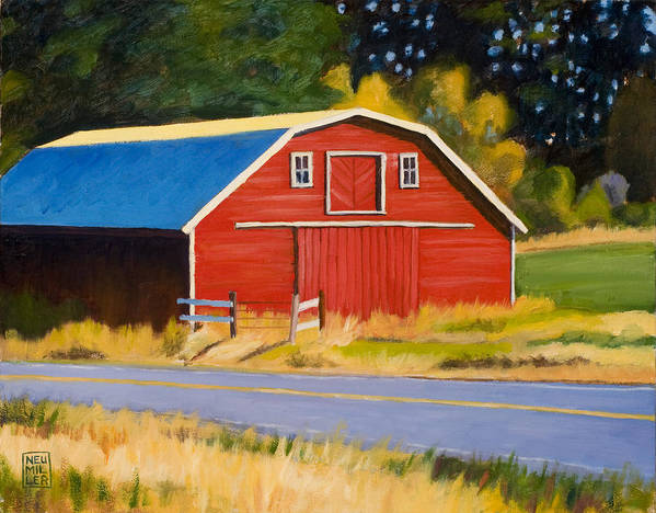 Farm Poster featuring the painting Sherman Barn by Stacey Neumiller