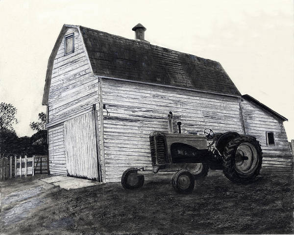 Poster featuring the drawing Sherry's Barn by Bryan Baumeister