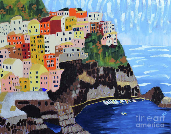 Cinque Terre Poster featuring the painting Shine - Cinque Terre, Italy by Nicole Werner Stevens