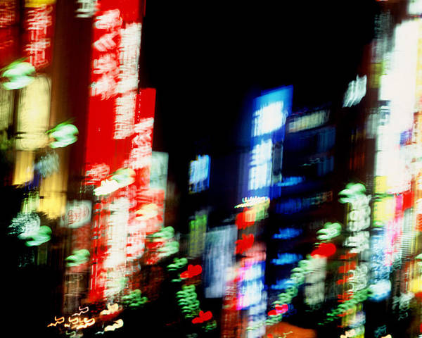 Neon Poster featuring the photograph Shinjuku Abstraction by Brad Rickerby