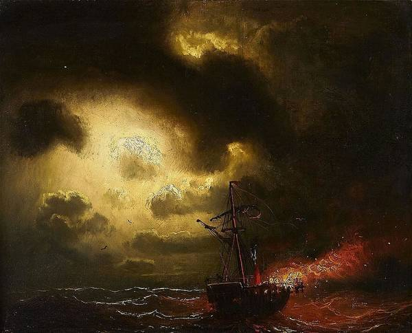 Marcus Larson 1825-1864 Ship On Fire Poster featuring the painting Ship On Fire by Marcus Larson