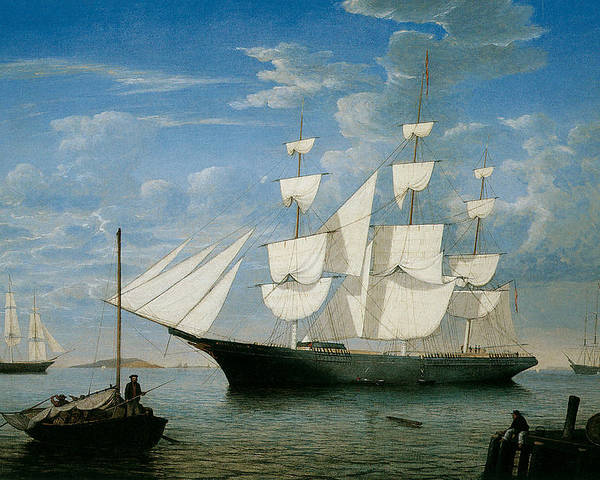 Fitz Hugh Lane Poster featuring the painting Ship Star Light In Boston Harbor by Fitz Hugh Lane