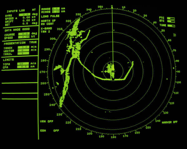 Radar Display Poster featuring the photograph Ship's Radar Screen While In Port by David Parker