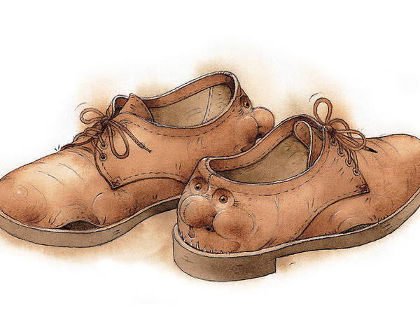 Shoes Clothes Brown Rest Relax Poster featuring the painting Shoes02 by Kestutis Kasparavicius