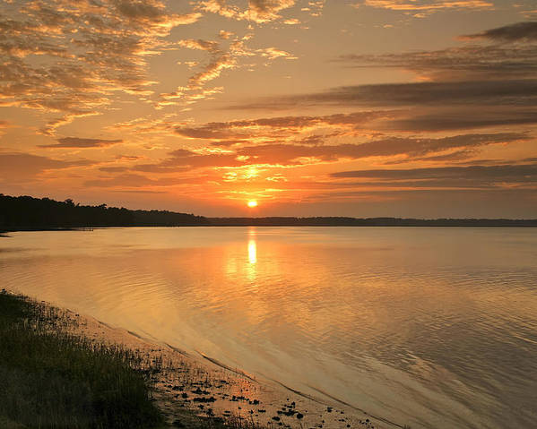 Canvas Poster featuring the photograph Shoreline Sunset by Phill Doherty