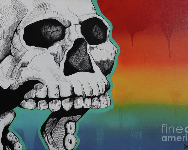 Show Me Your Teeth Rainbow Skull Gay Pride Poster featuring the painting Show Me Your Teeth by Jonathan Casillas
