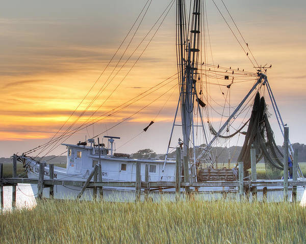 Shrimp Poster featuring the photograph Shrimp Boat Sunset Charleston Sc by Dustin K Ryan