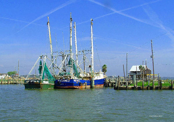Shrimp Boats Poster featuring the painting Shrimp Boats Seabrook by Fred Jinkins